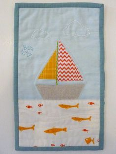 sailboat mug rug - by spottedstonestudio