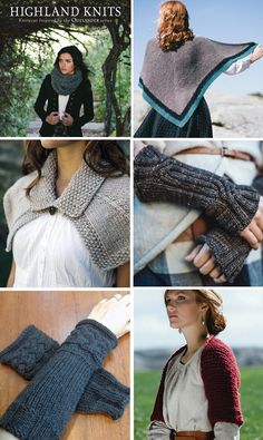 Highland Knits - 16 knitting patterns from Interweave inspired by Outlander incl. : Highland Knits – 16 knitting patterns from Interweave inspired by Outlander including the mitts, rent shawl, cowls, shrug, and more. Outlander Knitting Patterns, Loom Knitting, Knitting Patterns Free, Baby Knitting, Shrug Knitting Pattern, Free Knitting, Knit Mittens, Knitted Shawls, Shrug For Dresses