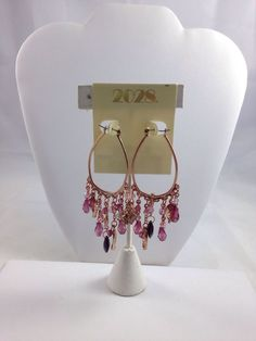 1928 Jewelry Co Earrings Pink Swarovski crystals Rose Brass elements dangle-New #1928JewelryCompany #DropDangle#FreeShipping