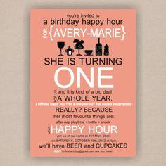 Happy Hour Babys First Birthday Invitation By DistInkDesigns Via Etsy