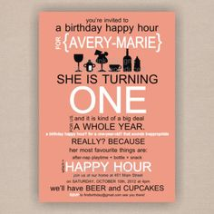 Happy Hour Babys First Birthday Invitation By DistInkDesigns Via Etsy Themes