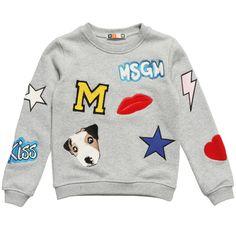 MSGM Girls Grey Cotton Coloured Logo Sweashirt at Childrensalon.com
