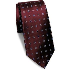 Saks Fifth Avenue Made in Italy Dotted Silk Tie ($40) ❤ liked on Polyvore featuring men's fashion, men's accessories, men's neckwear, ties, mens ties, mens leopard print tie, men's silk ties, mens patterned ties and mens red tie