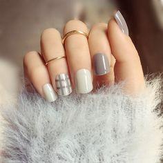 Grey Stripe Elegant False Nails/fake Nails