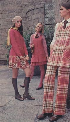 1969 Bobbie Brooks with Colleen Corby Cay Sanderson Regine Jaffrey 60s And 70s Fashion, Plaid Fashion, Mod Fashion, Teen Fashion, Fashion Models, Vintage Fashion, Fashion Outfits, Sporty Fashion, Winter Fashion