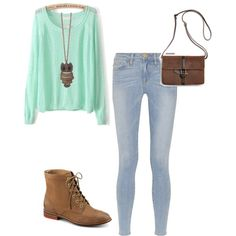 Cute teen fashion fall outfit sweater mint green jeans denim boots purse polyvore