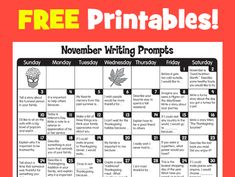 November 2013 writing prompts are here! Gobble them up! Kindergarten Writing, Teaching Writing, Writing Activities, Writing Prompts, Sentence Prompts, Literacy, Writing Lessons, Teaching Resources, First Grade Writing