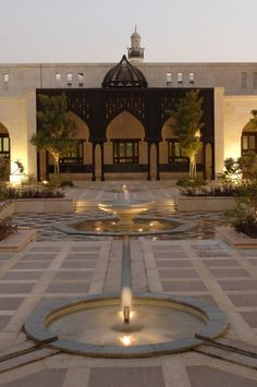 Ismaili Centre, Dubai    Water courses through channels, inlaid in the Takhtabosh Courtyard. Photo: Gary Otte
