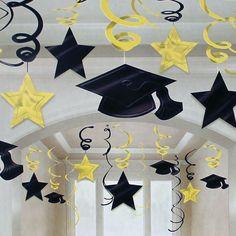Blue Graduation Swirl Decorations - New Deko Sites College Graduation Parties, Graduation Celebration, Grad Parties, Graduation Decorations, School Decorations, Graduation Drawing, Cheetah Party, Graduation Picture Poses, Paper Christmas Ornaments