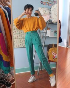 alex 🌻♂ — clothes are all thrifted/vintage 🤠💛 - Fashion Outfits Mode Outfits, Retro Outfits, Grunge Outfits, Vintage Outfits, Trendy Outfits, Artsy Outfits, 80s Fashion, Look Fashion, Korean Fashion