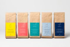 Visual identity and packaging with gold foil detail by Morse Studio for The Coffee Officiana.