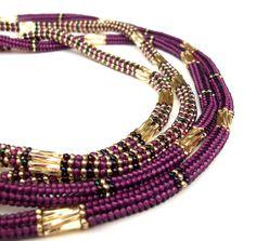 Beaded Necklace Embellished Beaded Rope by vantageJewellery, £45.00