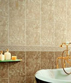 Vertical rectangles in straight patter - Travertine Tile Tub Surround by Lee Wallender, About.com