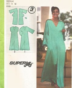 UNCUT VINTAGE SUPER JIFFY PULLOVER CAFTAN  WITH KIMONO SLEEVES SEWING PATTERN
