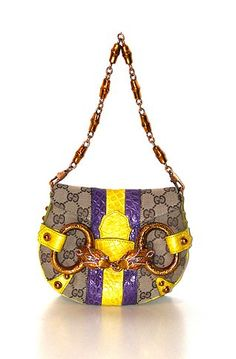 View this item and discover similar for sale at - An exceptional Tom Ford for Gucci signature bag. Flap bag with wide central stripes of yellow and purple crocodile skin. Golden Gucci's Gucci Bags On Sale, Swarovski Stones, Crocodile Skin, Purple Satin, Tom Ford, Shoulder Bag, Jewels, Gucci Monogram, Wild Things