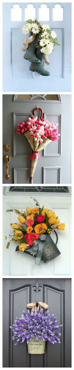 Go Beyond Wreaths with Unusual Door Decorations for Spring #DIY #springdecorations