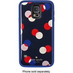 kate spade new york - Trapping Dots offGRID External Battery Case for Samsung Galaxy S 5 Cell Phones - Navy - Larger Front