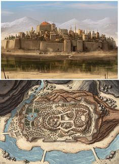 This is kinda what we need for overview pictures with notable landmarks identified on over head map and then show more close up photos of stuff Fantasy City Map, Fantasy Town, Fantasy World Map, Fantasy Castle, Fantasy Places, Medieval Fantasy, Fantasy Art Landscapes, Fantasy Landscape, Fantasy Concept Art