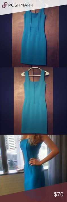 Size 2 Calvin Klein interview/professional dress Blue Calvin Klein interview or professional dress only worn twice in a Miss Ohio pageant. Perfect condition without stains, tears, rips or pulls. Has been kept safe in a dress bag. Zipper in back. Size 2. Comfortable and flattering fit! Will take any reasonable offer :) Calvin Klein Dresses Midi