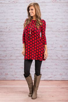 """""""Lattice Print 3/4 Sleeve Tunic - Red-Black"""" This best selling tunic is back in a new color combo! We are loving the bold color combo on this lattice printed tunic! This tunic paired with leggings and boots gives you a super easy, super stylish OOTD!  #newarrivals #shopthemint"""