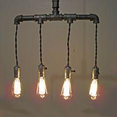 Modern industrial steel pipe pendant by hammersheels