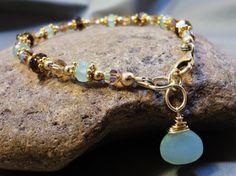 Peruvian Aqua Chalcedony Bracelet - 14k Gold Filled with Smokey Topaz and Swarovski Crystal Topaz AB on Etsy, $85.00