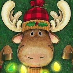 Celebrate by Janet Stever ~ Christmas ~ Moose Christmas Moose, Christmas Animals, Christmas Games, Christmas Projects, Winter Christmas, Holiday Crafts, Vintage Christmas, Merry Christmas, Christmas Decorations