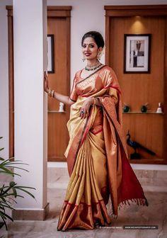 101 Trendy Bridal Silk Sarees worn by Real Brides. Indian Bridal Sarees, Wedding Silk Saree, Indian Silk Sarees, Bridal Lehenga, Engagement Dress For Groom, Engagement Saree, Silk Saree Kanchipuram, Kanjivaram Sarees, Beautiful Saree