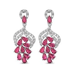 Platinum Plated Dangling Stud Earrings, Micro Pave Red AAA Zircons, Platinum, 35mm – sweetiee.com