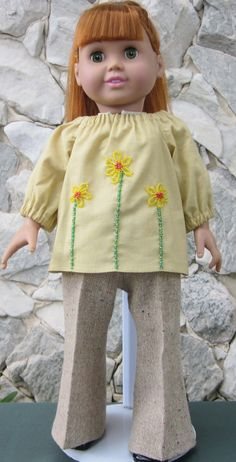Yellow & beige pant outfit for an 18 doll. by TinaDollDesigns, $19.00