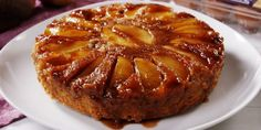 Caramel Apple Upside Down Cake Apple Upside Down Cake--Used the topping recipe, spread it in the bottom of the pan and layered it with two layers of thinly sliced apples (approx. 1 apple) and frozen cranberries, then a GF Cake Recipes Without Eggs, Fall Dessert Recipes, Apple Cake Recipes, Fall Desserts, Food Cakes, Cupcake Cakes, Cake Cookies, Cupcakes, Upside Down Apple Cake