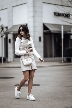 Eva Biker Mini Dress Size small | Fuzzy Knit Sweater (runs small, wearing a medium) | Superga Platform Sneakers | GG Marmont Gucci Bag | Sunnies #streetstyle2018 #sneakeroutfits