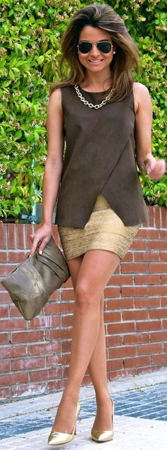 Gold Bandage Pencil Mini Dress - Summer Into Fall Outfits ~ 60 New Styles - Style Estate -