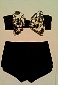 Floral Bow Bikini With High Waisted Bottoms by misskate92 on Etsy, $60.00