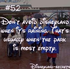 Nearly every time I've been at disney at least one day its rained and that's when we did the big coasters Disneyland World, Disneyland Secrets, Disney Secrets, Disney Tips, Disney Memes, Disney Quotes, Disneyland Hacks, Vintage Disneyland, Disney Stuff