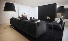 Black timber feature wall