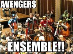 Avengers Ensemble | Funny Shot I dare the band kids to do this at the Xmas or Spring concert! I will pay $10.00 if to each costumed band member who does it! :D