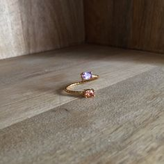 Double ring with orange and lavender jade stone by HurremSultanJewelry on Etsy