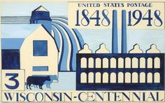 Wisconsin Historical Images - Art Deco Wisconsin Centennial Postage Stamp Design, WHi-34700