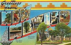 New Mexico 1940s Large Letter Greetings from New Mexico Vintage Linen Postcard