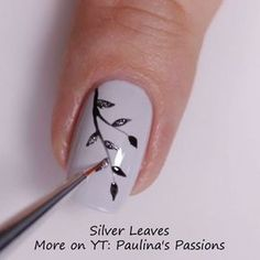 Easy Gel Nail Art with Indigo Nails products - Sparkly Silver Leaves nail art tutorial. Perfect for fall, combination of grey, silver and black.
