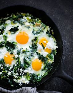 Sauteed dandelion greens with eggs. Get the recipe