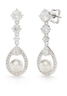 Nadri Silver Silver-Tone Lily Small Pearl Drop Earrings