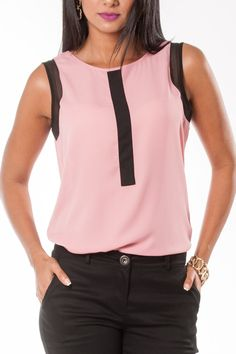 Sheer pink sleeveless high round neck blouse with black patchwork and arm binding Cool Outfits, Casual Outfits, Fashion Outfits, Womens Fashion, Beautiful Blouses, Blouse Dress, Couture, Business Attire, Office Outfits