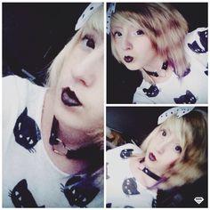Pastel goth more casual  Headband : SIX Lipstick : clears Circle lens : bigmall Choker : ebay T-shirt : H&M  ChibiMikuXx