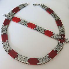 Vtg Art Deco Machine Age Jakob Bengel Modernist Brick Link Necklace Bracelet Set | eBay