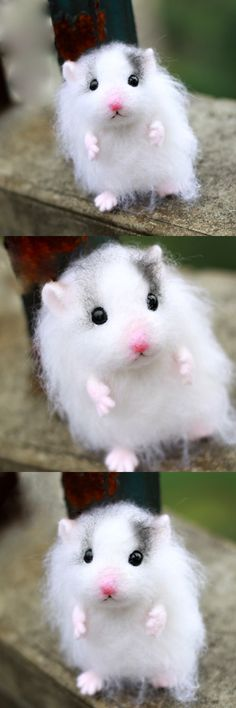 Handmade Needle felted felting animal cute hamster mouse felted wool doll
