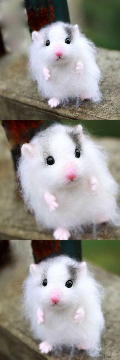 Handmade Needle felted felting animal cute hamster mouse felted wool doll