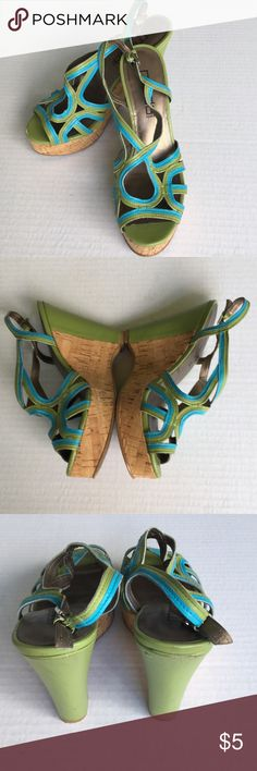"""$5 SALE! Avo & Teal Strappy Cork Wedge Sandals 7M Super cute, 4 3/4"""" Heel wedge with a 1 1/2"""" platform in avocado/olive green with teal/turquoise straps and trim. Buckling sling back makes them so easy to fit! Few """"driving scuffs"""" but otherwise plenty of love, life and wear in these awesome Moda Spana Sandals! US women's size 7 M.  ****Bundle with other item(s) in my listings for another 20% off!!**** Shoes Wedges"""
