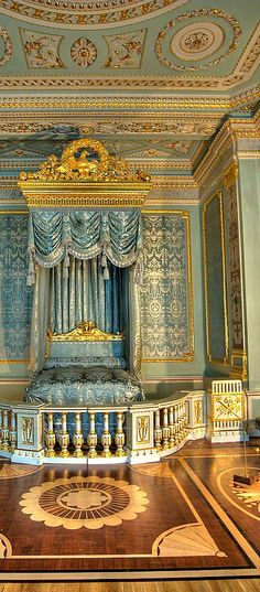 Grand bedroom in royal Gatchina Palace founded by Pavel I, great great great grandfather of Nikolay II. Saint Petersburg, Russia.
